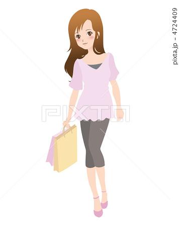 人物イラスト素材・女性・ ショッピング