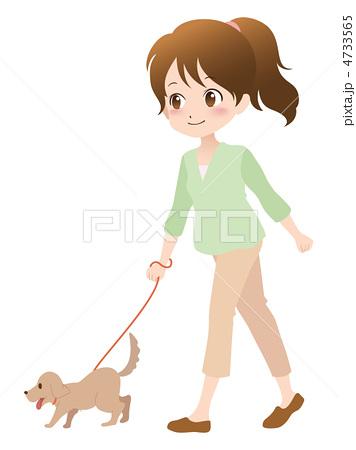 人物イラスト素材,女性,犬,散歩,