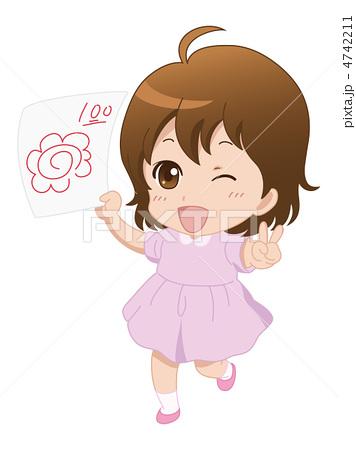 人物イラスト素材,女の子,園児,テスト,満点
