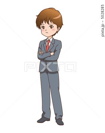 人物イラスト素材,男性,考える,困る,悩む,指差し,漫画,ビジネスマン,スーツ