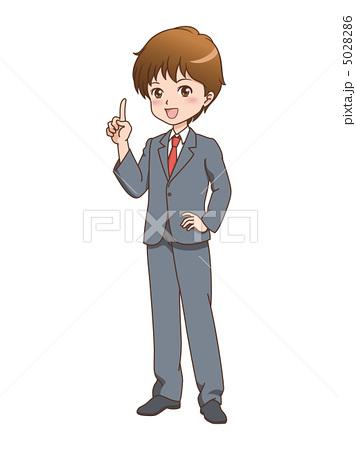 人物イラスト素材,男性,案内,ポイント,指差し,漫画,笑顔,ビジネスマン,スーツ