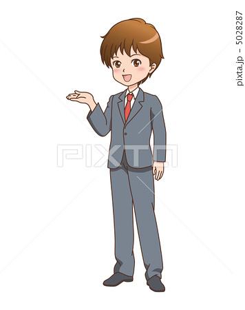 人物イラスト素材,男性,案内,漫画,笑顔,ビジネスマン,スーツ