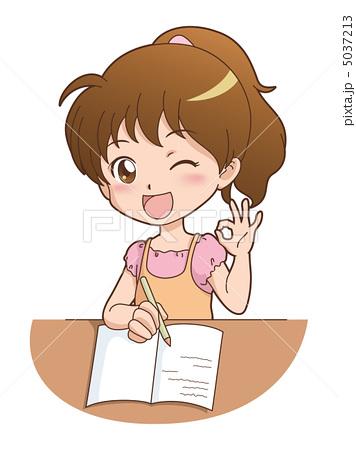 人物イラスト素材,女の子, 勉強,OK