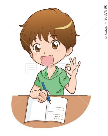 人物イラスト素材,男の子,学生,子供,勉強,OK