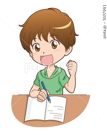 人物イラスト素材,男の子,学生,子供,勉強,