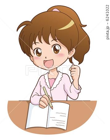 イラスト素材,女の子,かわいい,ポニーテール,勉強,子供