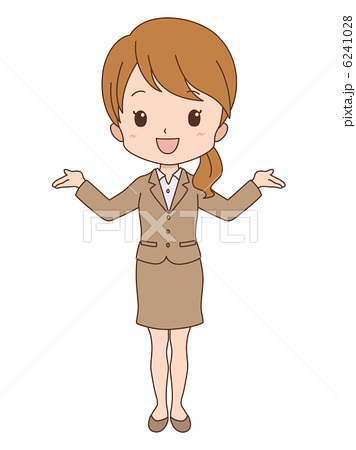 人物イラスト素材,女の子,女性,OL,キャリアウーマン,案内,両手を広げる