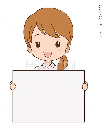人物イラスト素材,案内,笑顔,ホワイトボード,女性