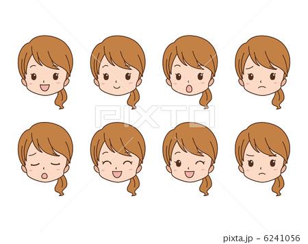 人物イラスト素材,顔,驚く,笑顔,困る,怒る,女性