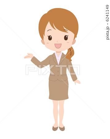 人物イラスト素材,案内,笑顔,女性